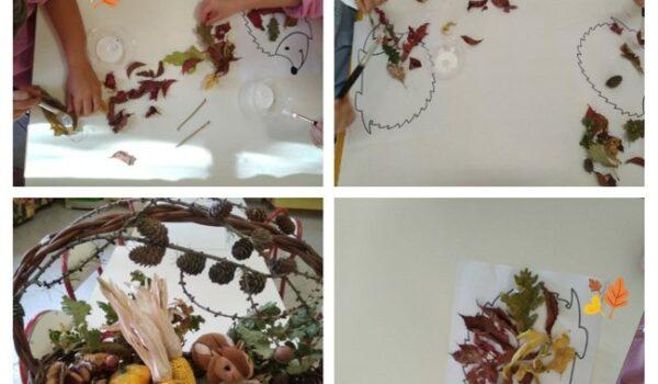 presentazione cesto dell'autunno e attività con le foglie